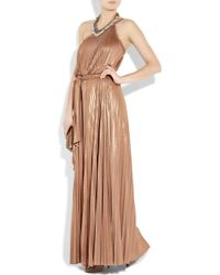 Halston - Pink Pleated One Shoulder Maxi Dress - Lyst