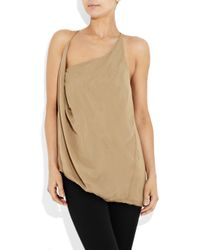 Helmut Lang - Brown Draped Crepe Top - Lyst