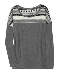 James Perse | Gray Fair Isle Cashmere Sweater | Lyst