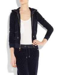 Juicy Couture | Blue Velour-jacquard Hooded Top | Lyst
