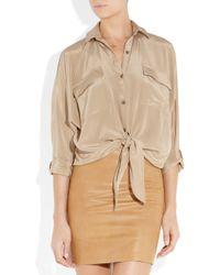 Kelly Bergin - Natural Silk Crepe De Chine Tie-front Shirt - Lyst