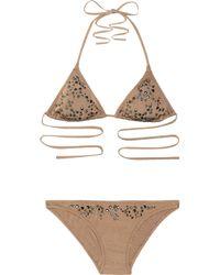 Melissa Odabash   Brown Monte Carlo Studded Triangle Bikini   Lyst
