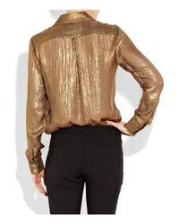 MICHAEL Michael Kors - Metallic Crepe Boyfriend Shirt - Lyst