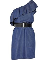 Boutique Moschino | Blue Belted Denim One-shoulder Dress | Lyst
