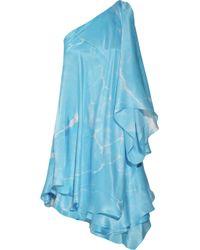 Ralph Lauren Black Label - Blue Cathleen Silk One Shoulder Dress - Lyst