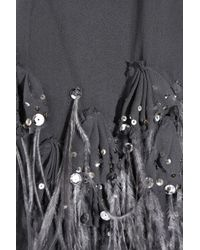 Rebecca Taylor - Gray Feather-embellished Silk Dress - Lyst