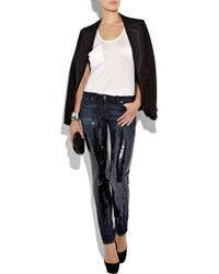 Roberto Cavalli - Blue Sequin-embellished Mid-rise Skinny Jeans - Lyst