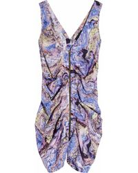 Seventh Wonderland | Purple Rever Marbled-print Silk Dress | Lyst