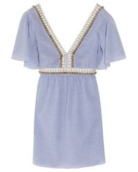 Tibi | Blue Meranda Beaded Seersucker-cotton Kaftan Dress | Lyst