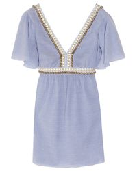 Tibi - Blue Meranda Beaded Seersucker-cotton Kaftan Dress - Lyst