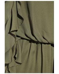 Tibi | Green Silk Ruffle Dress | Lyst