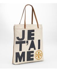 Tory Burch | Natural Je Taime Canvas Tote | Lyst