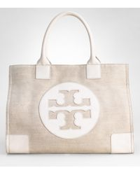 Tory Burch | Natural Metallic Canvas Ella Tote | Lyst