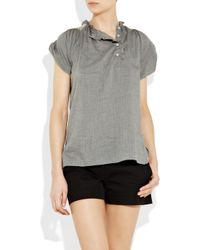 Vanessa Bruno Athé | Gray Embroidered Cotton and Wool-blend Blouse | Lyst
