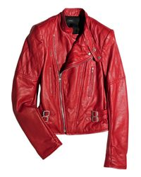 JOSEPH | Red Perfeto Leather Biker Jacket | Lyst
