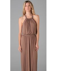 Tibi | Gray Jersey Long Halter Dress | Lyst