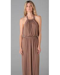 Tibi - Gray Jersey Long Halter Dress - Lyst