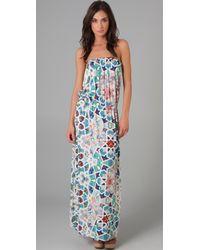 Tibi | Multicolor Tile Mosaic Long Strapless Dress | Lyst