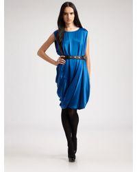Ports 1961   Blue Silk Charmeuse Bubble Dress   Lyst