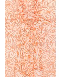 Juicy Couture | Orange Fan-print Silk-crepe Dress | Lyst