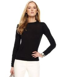 Michael Kors | Ruched Sleeve Sweater Black | Lyst