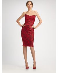 Dolce & Gabbana | Red Strapless Lace Dress | Lyst