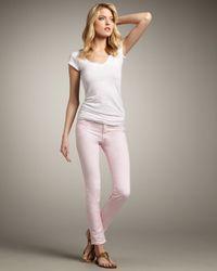 J Brand | 811 Mid-rise Skinny Twill Jeans, Pretty Pink | Lyst