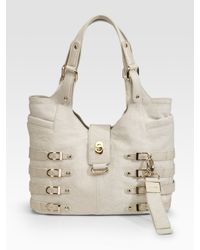 Jimmy Choo - White Perforated Leather Bree Large Shoulder Bag - Lyst