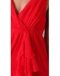 Alice + Olivia - Red Faux Wrap Drape Dress - Lyst