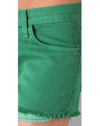 Current/Elliott - Green The Boyfriend Shorts - Lyst