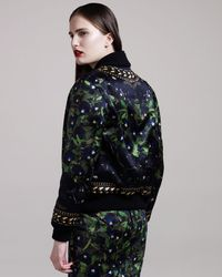 Givenchy - Blue Panther-print Bomber Jacket - Lyst