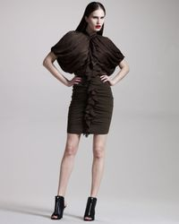 Givenchy | Green Ruched Ruffle-front Dress | Lyst