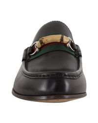 Gucci | Black Leather Bamboo Web Loafers for Men | Lyst