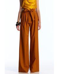 Oscar de la Renta | Brown Tie-waist Wide-leg Pants | Lyst