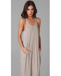 Raquel Allegra - Gray Frayed Cotton-gauze Maxi Dress - Lyst