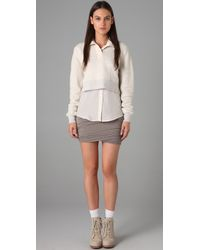 T By Alexander Wang - Gray Ruched Skirt - Lyst