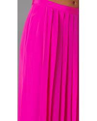 Tibi | Pink Silk Cdc Long Pleated Skirt | Lyst