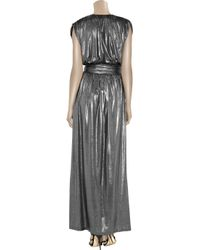 Halston Heritage   Silver Belted Lamé Maxi Dress   Lyst