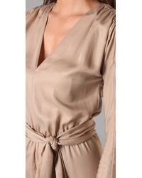 Halston | Natural Long Sleeve Jumpsuit | Lyst