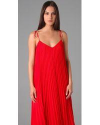 Halston - Red Spaghetti Strap Pleated Maxi Dress - Lyst