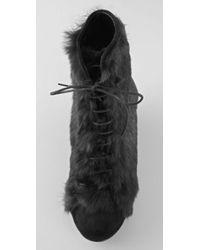 Opening Ceremony - Black Rabbit Fur Wedge Booties - Lyst