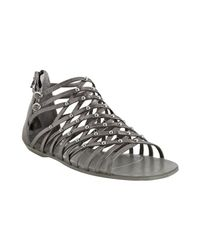 Dolce Vita | Gray Dark Silver Leather Ezra Studded Zip Back Flat Sandals | Lyst