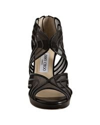 Jimmy Choo - Black Leather and Mesh Miles Sandals - Lyst