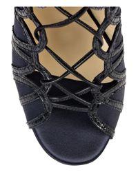 Jimmy Choo   Blue Feline Elaphe-trim Satin Lace-up Sandals   Lyst