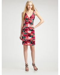 THEIA - Multicolor Tropical Print Strapless Cocktail Dress - Lyst