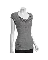 Bailey 44 | Gray White and Black Stripe Jersey Good Morning Zouk Cowl Neck Top | Lyst