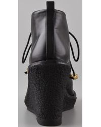 Marc By Marc Jacobs - Black Lace Up Wedge Booties - Lyst