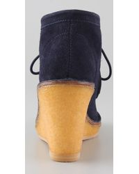 Marc By Marc Jacobs - Blue Wallabee Suede Wedge Booties - Lyst