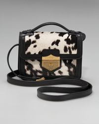 Alexander McQueen | Black Printed Calf Hair Crossbody Bag, Medium | Lyst