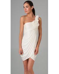 BCBGMAXAZRIA | White One-shoulder Petal Rosette Dress | Lyst
